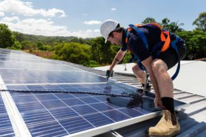 solar system technician installing solar panels - Brisbane QLD